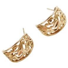 14k Gold Ornate Swirl Hoop Earrings ~ Beverly Hills Gold