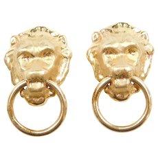 14k Gold Big Door Knocker Lion Head Clip-On Earrings