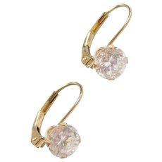 14k Gold 1.60 ctw Faux Diamond Lever Backs Earrings