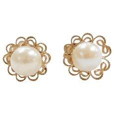 14k Gold Cultured Pearl Filigree Stud Earrings