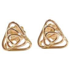 14k Gold Triangle Stud Earrings