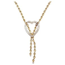 "17"" .60 ctw Diamond Heart Necklace ~ 14k Gold Two-Tone"