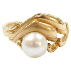 14k Gold Cultured Pearl Dolphin Ring