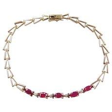 """7"""" 10k Gold Ruby and Diamond Bracelet"""