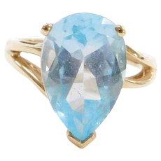 10k Gold Blue Topaz Pear Ring
