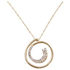 "18"" 10k Gold Diamond Swirl Necklace"