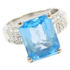 14k White Gold Checkerboard Cut Blue Topaz and Diamond Ring