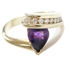 Funky Modernist 14k Gold Amethyst and Diamond Ring