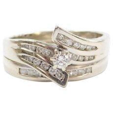 14k White Gold .78 ctw Diamond Engagement Ring and Wedding Band Set