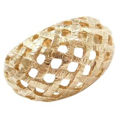 14k Gold Domed Woven Ring