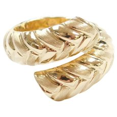 14k Gold Hollow Bypass Ring