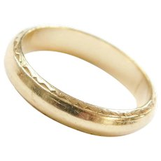 14k Gold Etched Ring ~Wedding Band / Thumb Ring