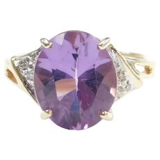 Amethyst and Diamond 4.38 ctw Ring 10k Gold Two-Tone