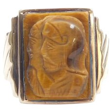Gents Tigers Eye Carved Soldier Cameo Ring 10k Gold ~ Men's