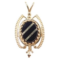 Black Onyx Intarsia Pendant 10k Gold