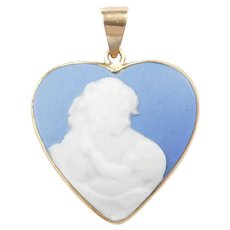 Blue Wedgwood Cameo Mother and Baby Heart Pendant 10k Gold