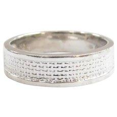 Basket Weave Band Ring 18k White Gold