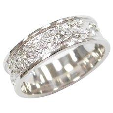 Embossed Dragon Band Ring 14k White Gold