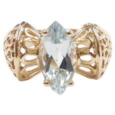 Sky Blue Topaz 2.00 Carat Ornate Filigree Ring 10k Gold