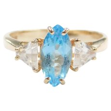 Swiss Blue Topaz and Faux Diamond 1.78 ctw Ring 10k Gold