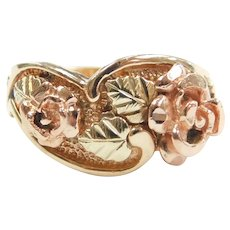 Black Hills Gold Rose Flower and Leaf Ring 10k Yellow and Rose Gold