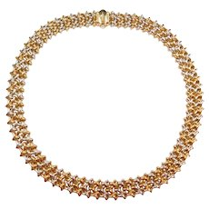 "17"" 18k Gold Two-Tone Woven Chimento Necklace ~ 51.0 Grams"