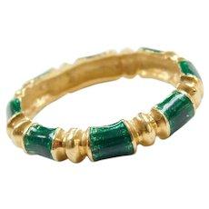 18k Gold Green Enamel Band Ring