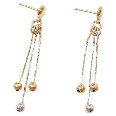 14k Gold Tri-Color Ball Dangle Earrings
