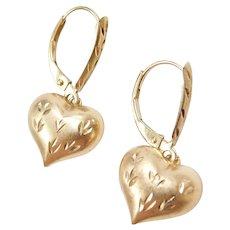 14k Gold Diamond Cut Heart Earrings ~ Lever Backs