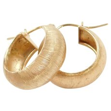 14k Gold Small Textured Hoop Earrings