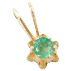 14k Gold Natural Emerald Buttercup Pendant