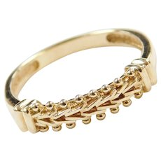 14k Gold Woven Bead Ring