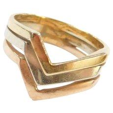 14k Gold Tri-Color Zigzag Ring
