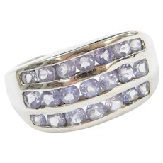 14k White Gold Wide 1.26 ctw Iolite Wave Ring