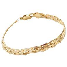 """7 1/4"""" 18k Gold Woven Bracelet"""