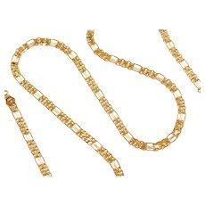"20"" 18k Gold Fancy Figaro Link Chain ~ Double Row ~ 14.9 Grams"