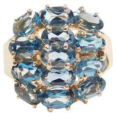 London Blue Topaz 3.64 ctw Cluster Ring 10k Gold