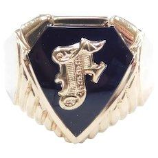 Gents Black Onyx Letter F Signet Ring 10k Gold ~ Men's