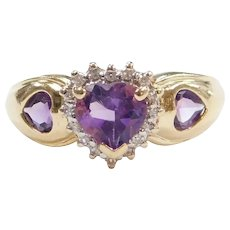 Amethyst and Diamond 1.07 ctw Heart Halo Ring 10k Gold
