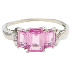 Created Pink Sapphire and Diamond 2.30 ctw Ring 10k White Gold