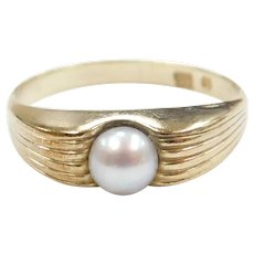 Cultured Pearl Solitaire Ring 9k Gold