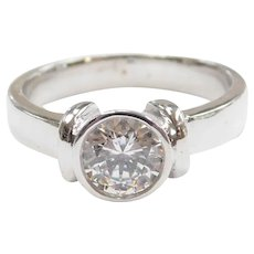 Faux Diamond 1.00 Carat Bezel Set Solitaire Ring 9k White Gold