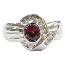Garnet and Faux Diamond .61 ctw Ring 9k White Gold