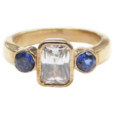 Created Sapphire and Faux Diamond 1.18 ctw Three Stone Ring 9k Gold
