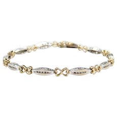 .20 ctw Diamond Bracelet with Hearts 10k Gold Two-Tone ~ I Love You