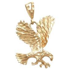 Flying Bald Eagle Pendant 10k Gold