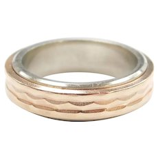 Gents Wedding Band Ring 14k Rose and White Gold