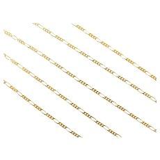 """3:1 Figaro Link Chain 14k Gold 18"""" Length, 1.7 Grams"""