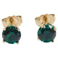 Faux Emerald 1.10 ctw Stud Earrings 14k Gold