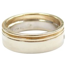 Gents Arthritic Wedding Band Ring 14k Gold Two-Tone ~ Men's